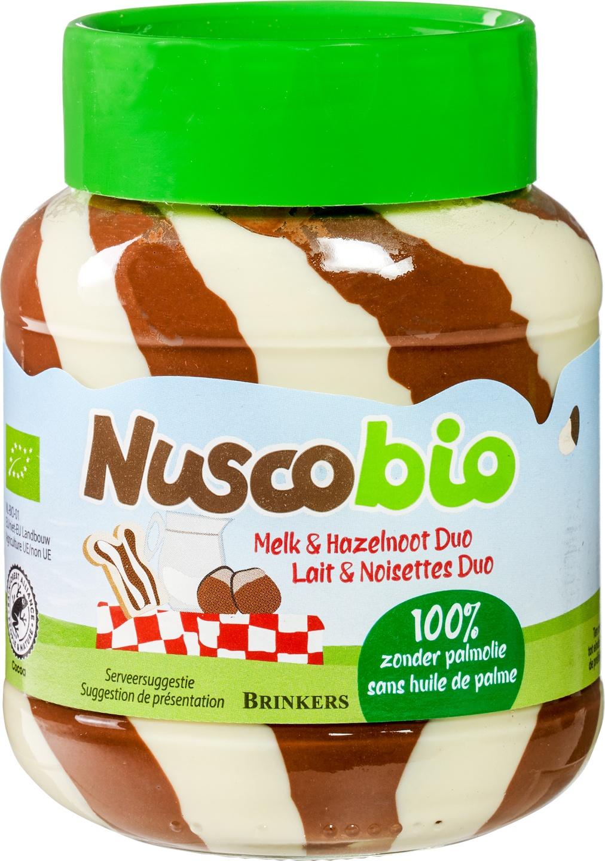 Biologische Brinkers Nuscobio duo hazelnootpasta 400 gr