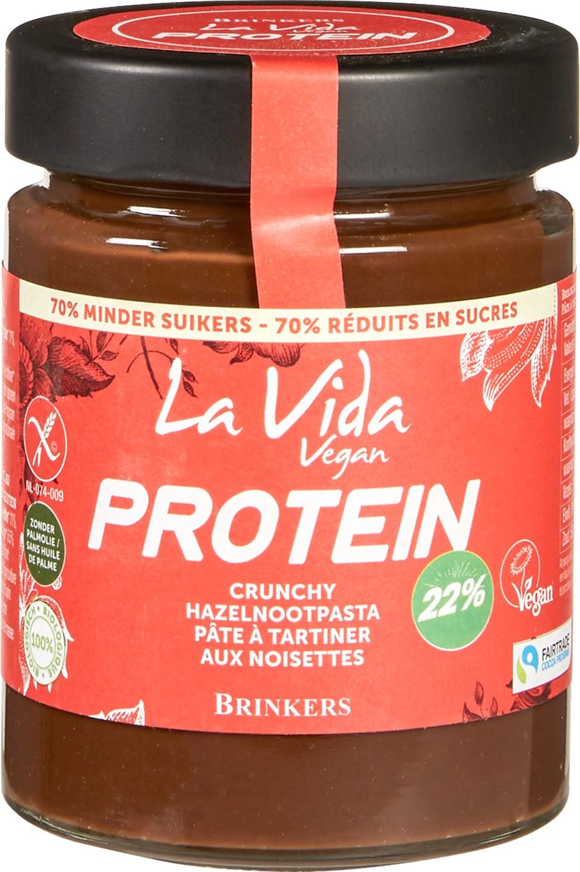 Biologische La Vida Vegan Proteïne crunchy hazelnootpasta 270 gr