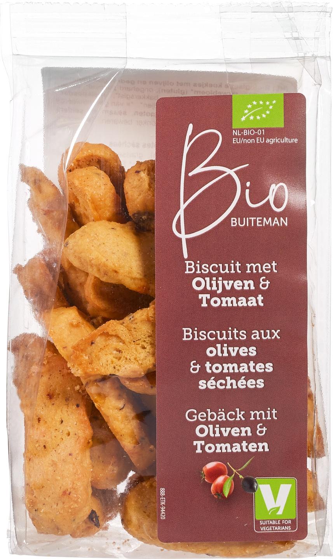 Biologische Buiteman Biscuits olijven & tomaat 100 gr