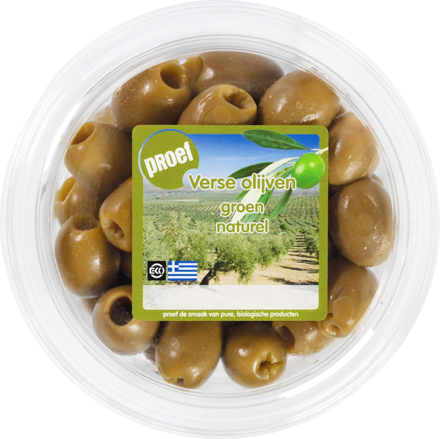 Biologische Proef Verse groene olijven pitloos 120 g