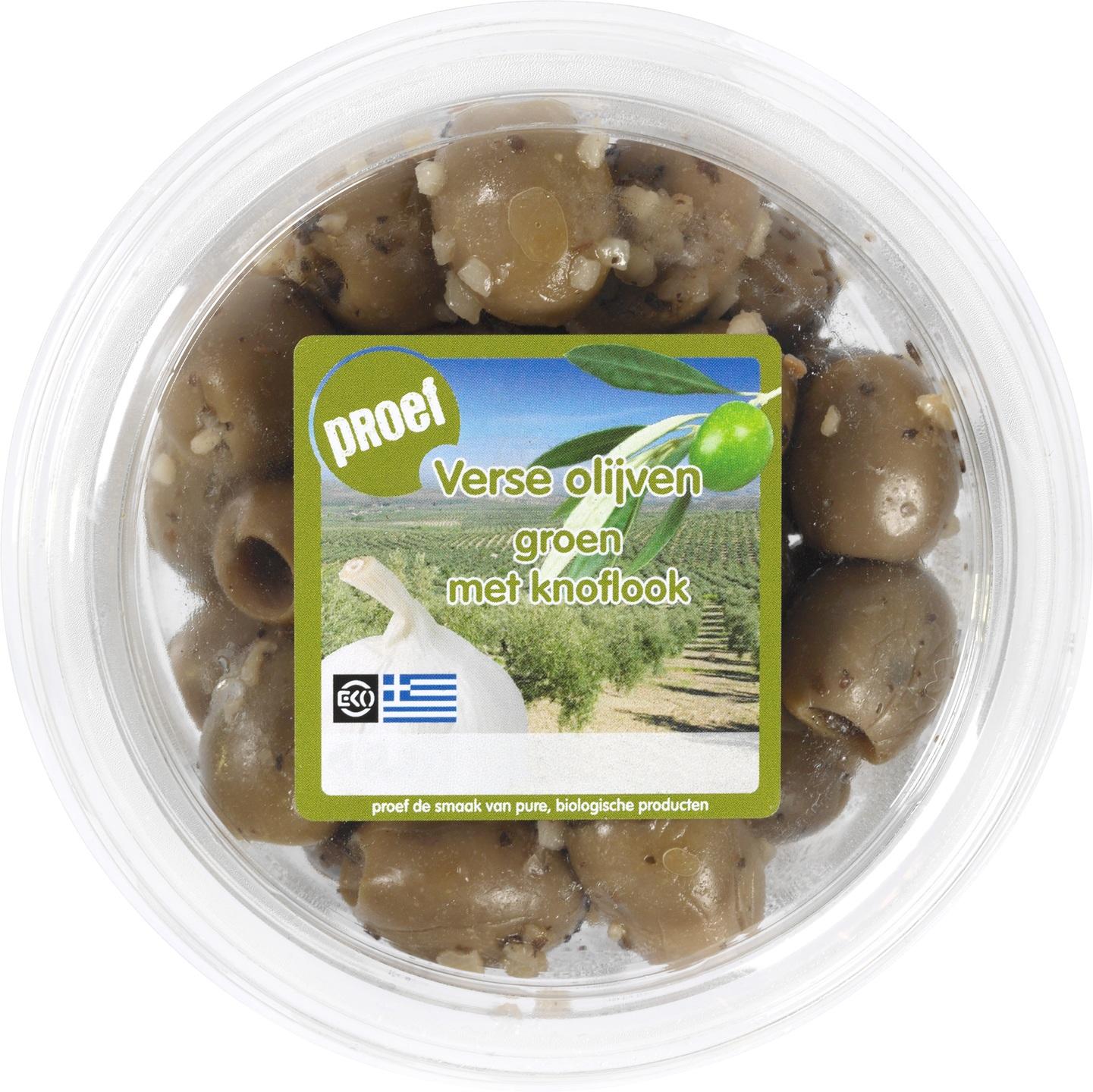 Biologische Proef Groene olijven met knoflook 120 gr