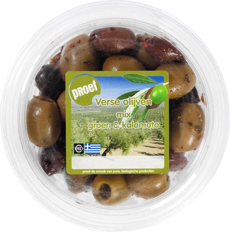 Biologische Proef Mix van verse groene olijven pitloos 115 gr