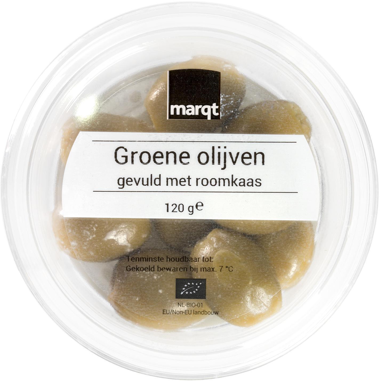 Biologische Marqt Groene olijven gevuld met roomkaas 120 gr