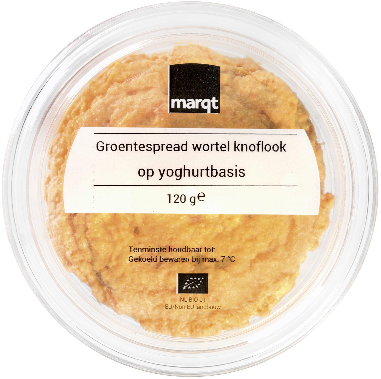 Biologische Marqt Groentespread wortel-knoflook op yoghurtbasis 120 gr