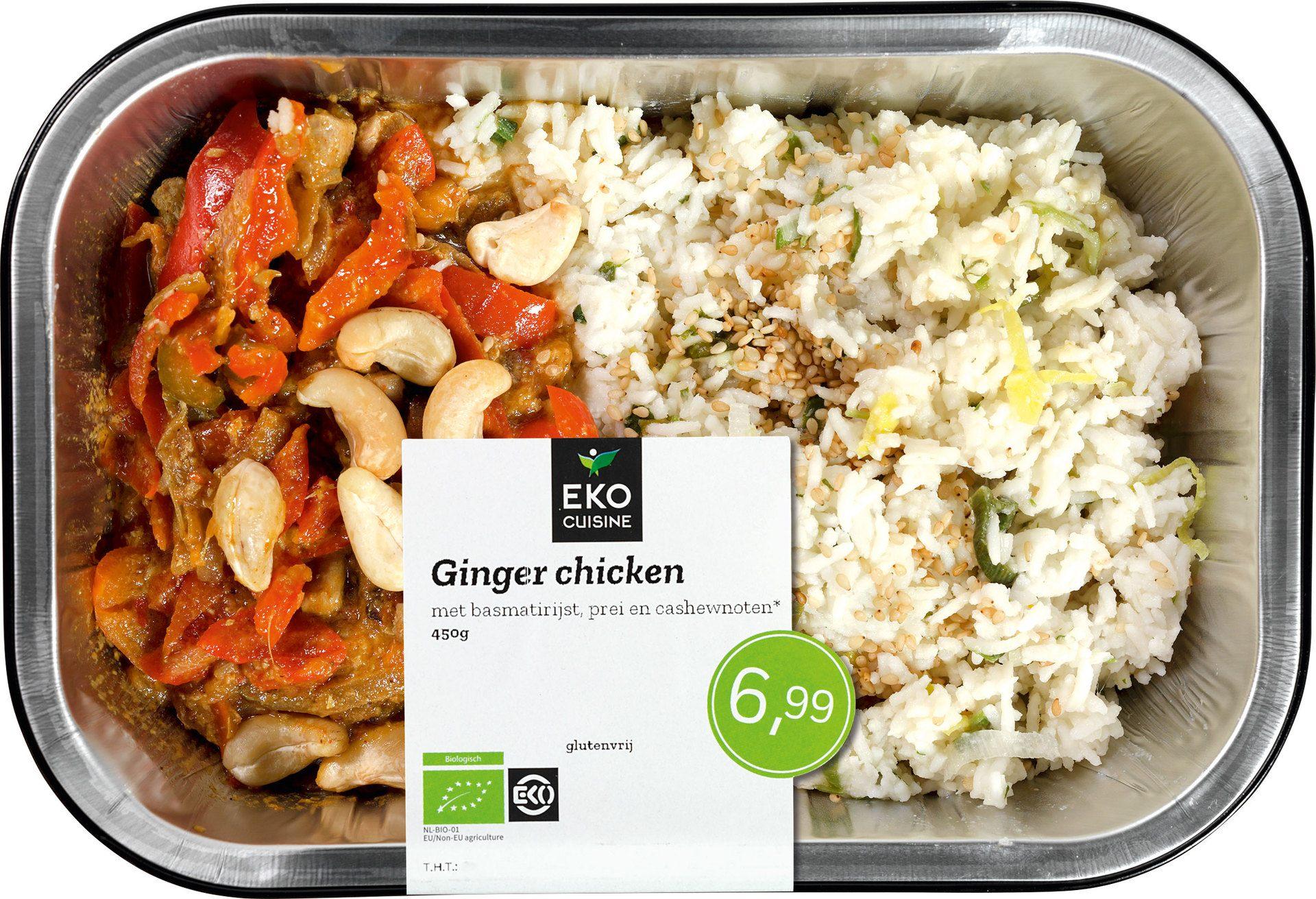 Biologische Ekocuisine Ginger Chicken met basmatirijst, prei en cashewnoten 450 gr