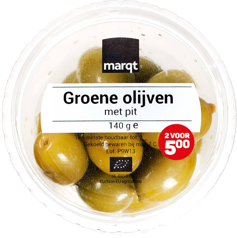 Biologische Marqt Groene olijven met pit 140 gr