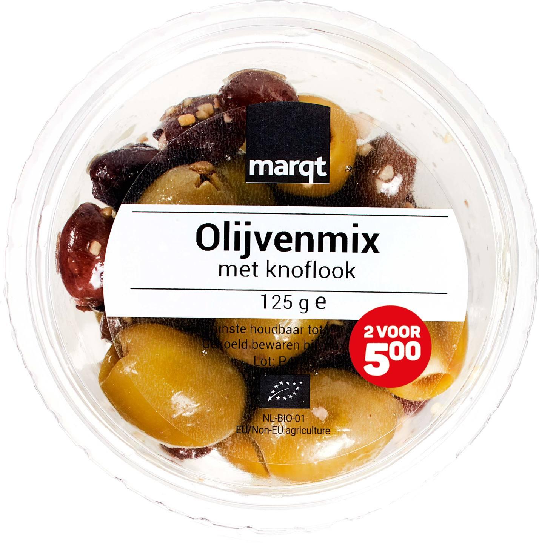 Biologische Marqt Olijvenmix met knoflook 125 gr