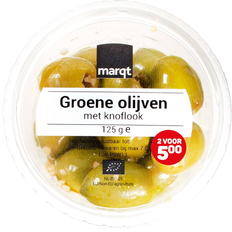 Biologische Marqt Groene olijven met knoflook 125 gr