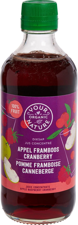 Biologische Your Organic Nature Diksap framboos cranberry 400 ml