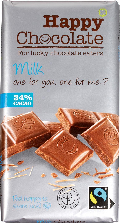 Biologische Happy Chocolate Melkchocolade 34% 180 gr