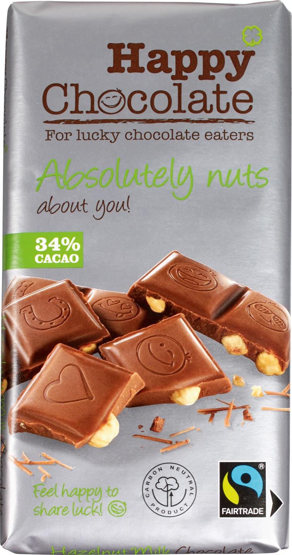 Biologische Happy Chocolate Melkchocolade 34% - hazelnoot 180 gr