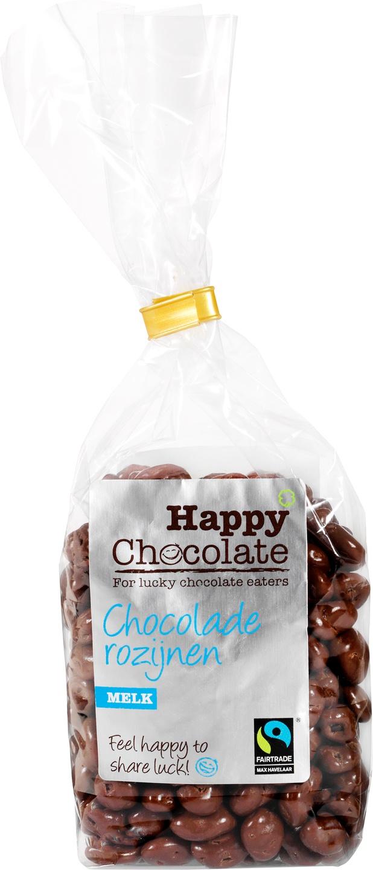 Biologische Happy Chocolate Melkchocolade rozijnen 200 gr