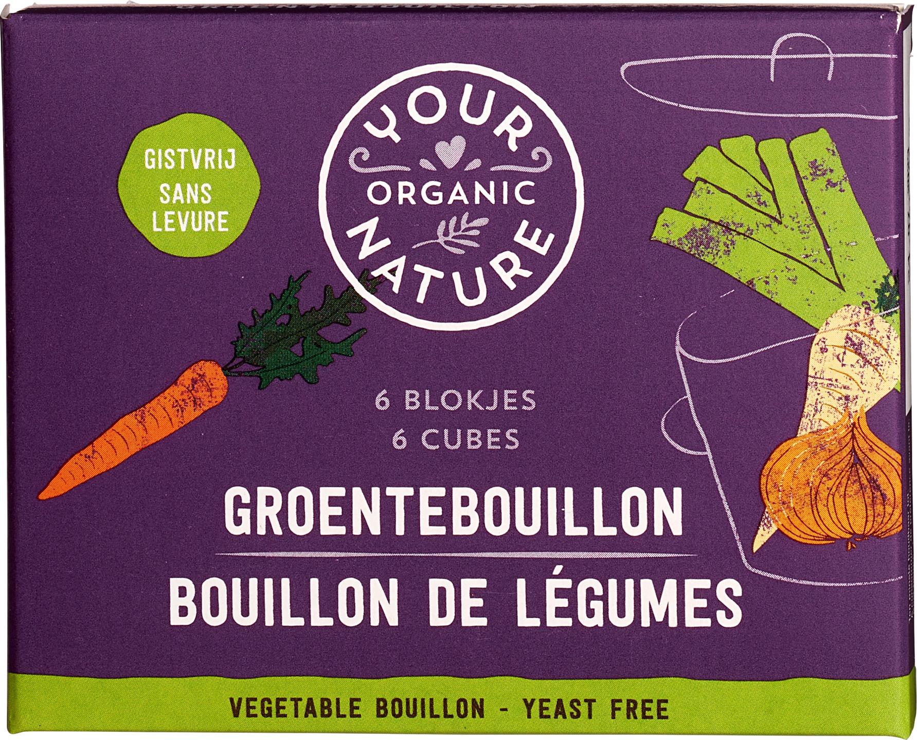 Biologische Your Organic Nature Groentebouillonblokjes gistvrij 66 gr