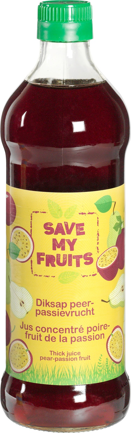 Biologische Save my fruits Diksap peer-passievrucht 500 ml