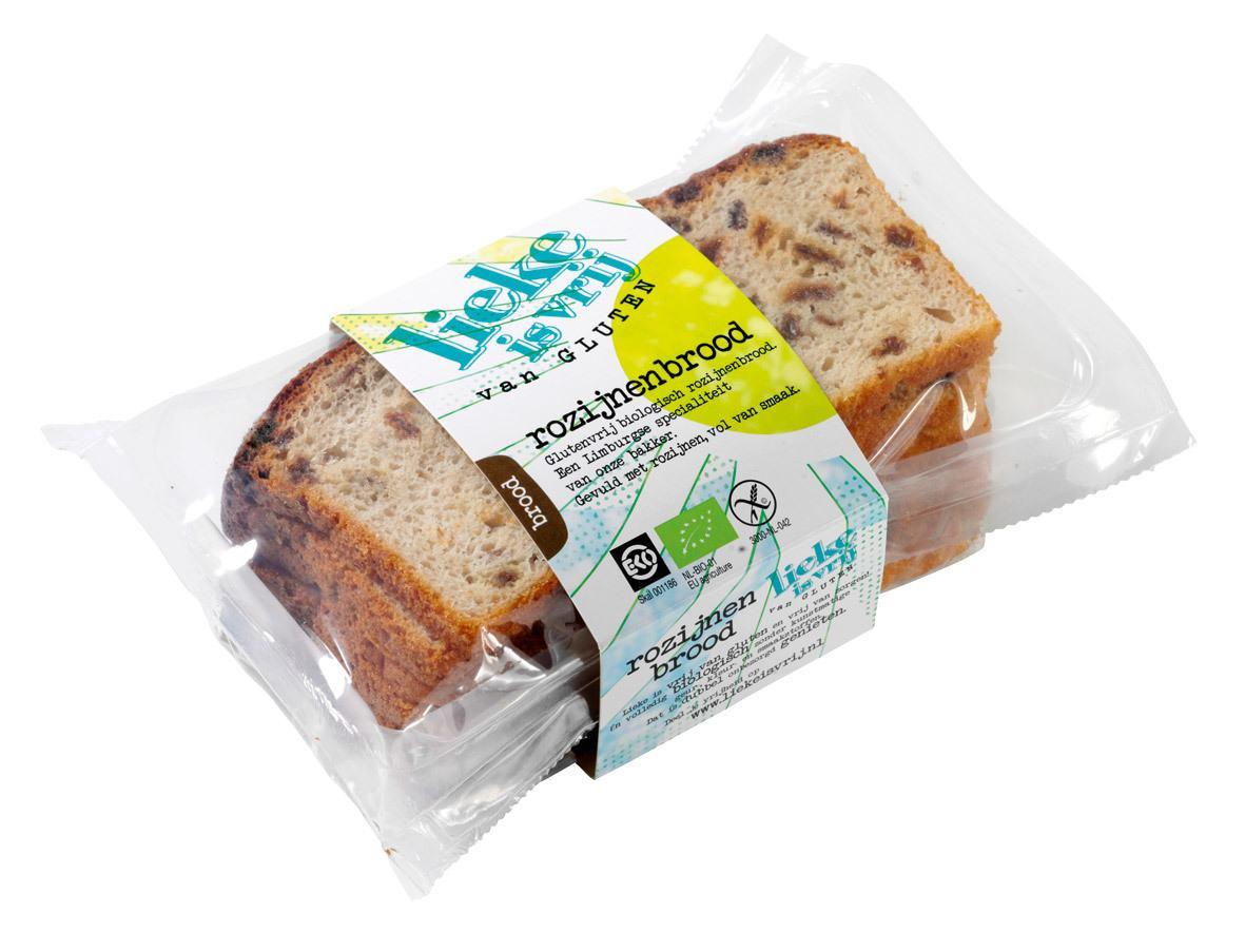 Biologische Lieke is vrij Rozijnenbrood 200 gr