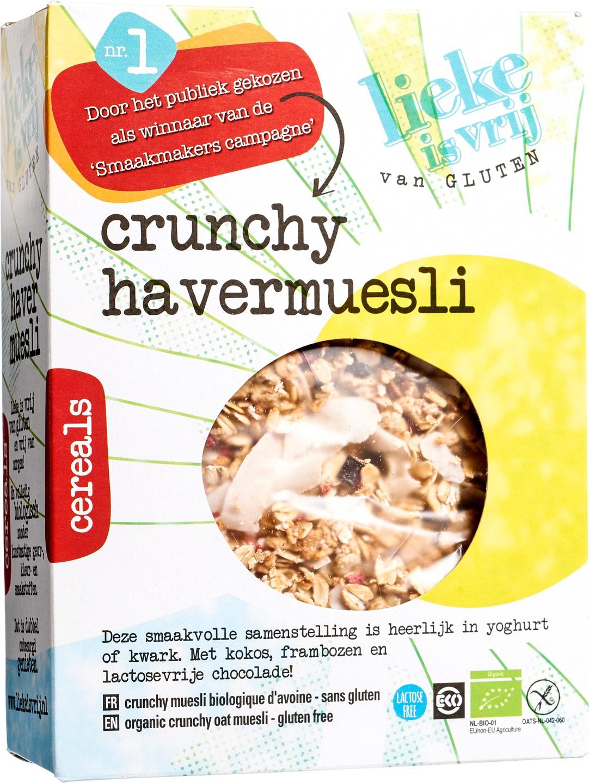 Biologische Lieke is vrij Crunchy havermuesli 350 gr
