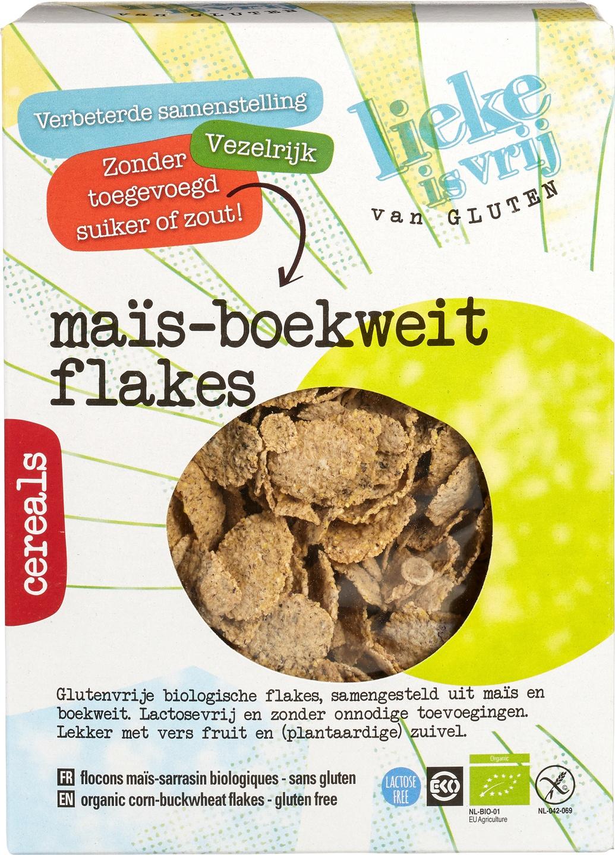 Biologische Lieke is vrij Maïs-boekweitvlokken 250 gr