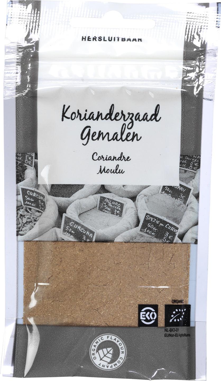 Biologische Organic Flavour Company Korianderzaad gemalen 22 gr