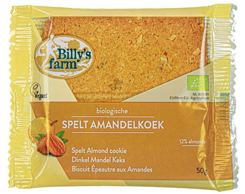 Biologische Billy's Farm Spelt amandelkoek 50 gr