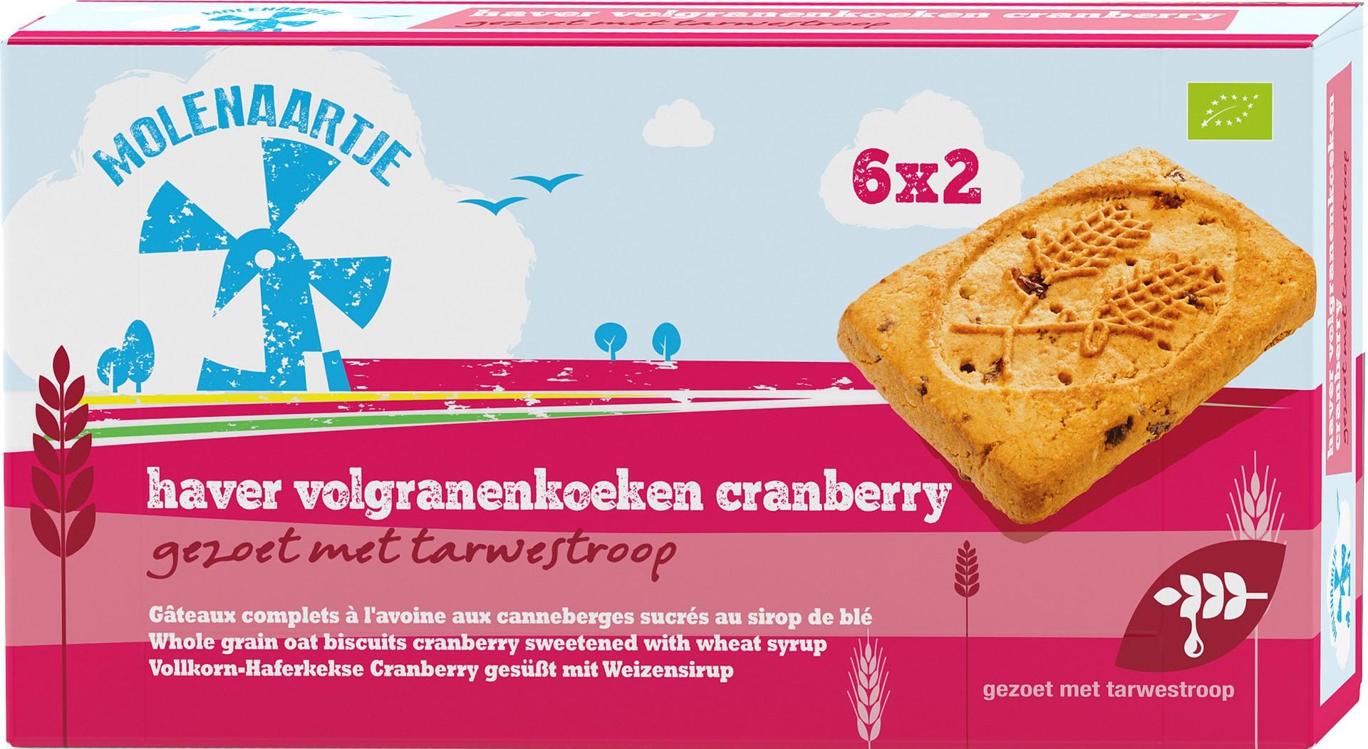 Biologische Molenaartje Haver volgranenkoeken met cranberry 240 gr