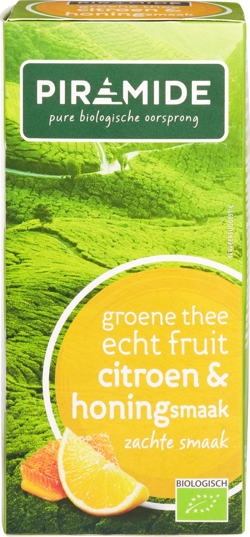 Biologische Piramide Groene thee citroen honing 20 builtjes