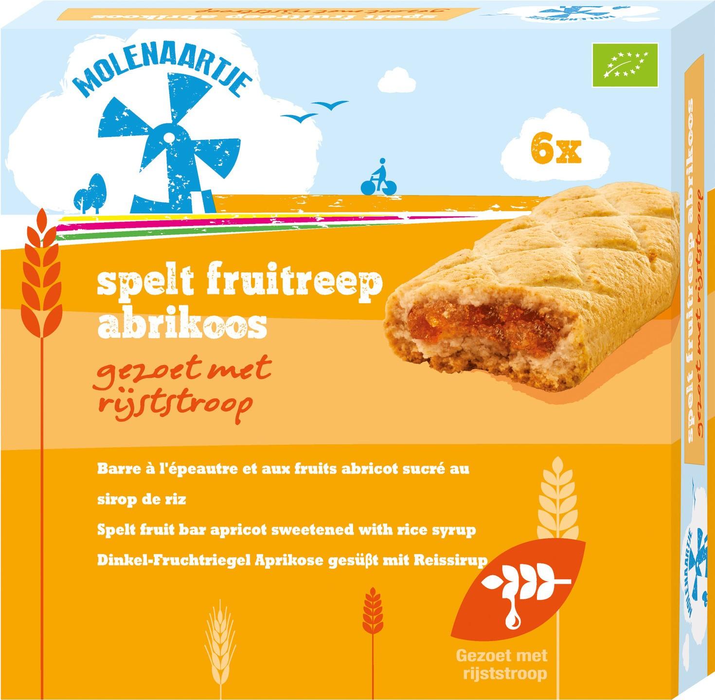 Biologische Molenaartje Spelt fruitreep abrikoos 180 gr