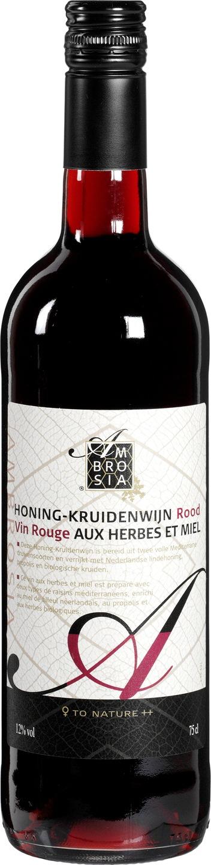 Biologische Ambrosia Honing Kruidenwijn rood 750 ml