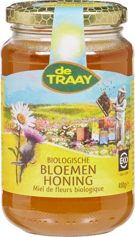 Biologische De Traay Bloemenhoning vloeibaar 450 gr