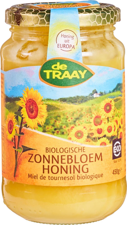 Biologische De Traay Zonnebloemhoning 450 gr