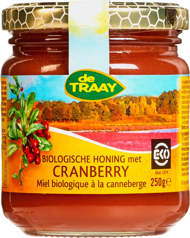 Biologische De Traay Honing met cranberry 250 gr