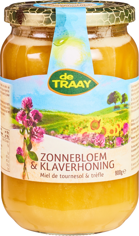 Biologische De Traay Zonnebloem & klaverhoning 350 gr