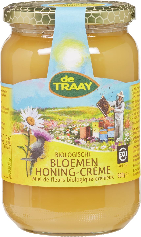 Biologische De Traay Bloemenhoning crème 900 gr