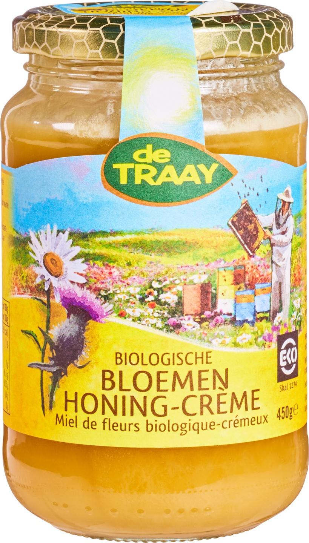 Biologische De Traay Bloemenhoning crème 350 gr