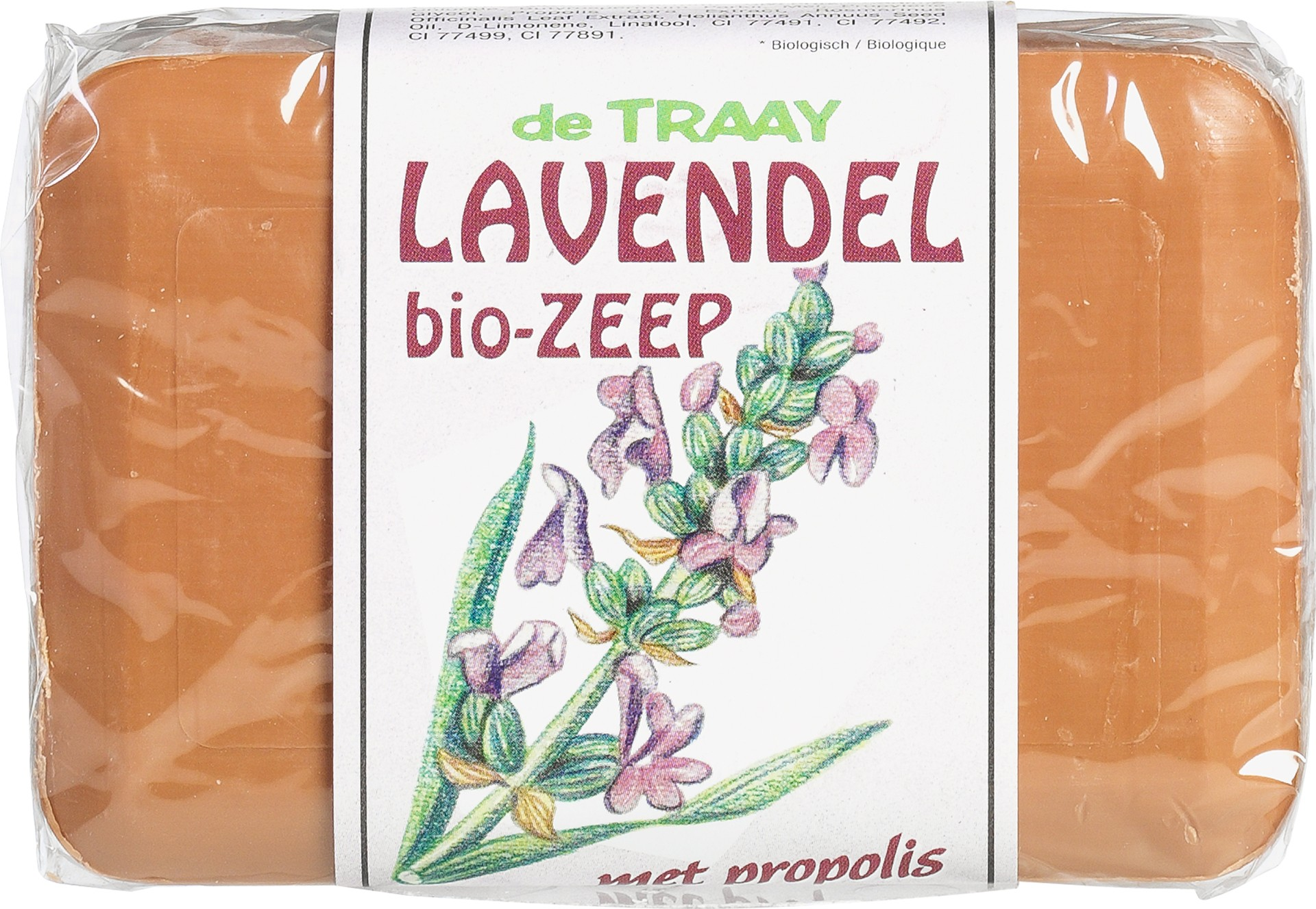 Biologische De Traay Lavendel zeep met propolis 250 gr