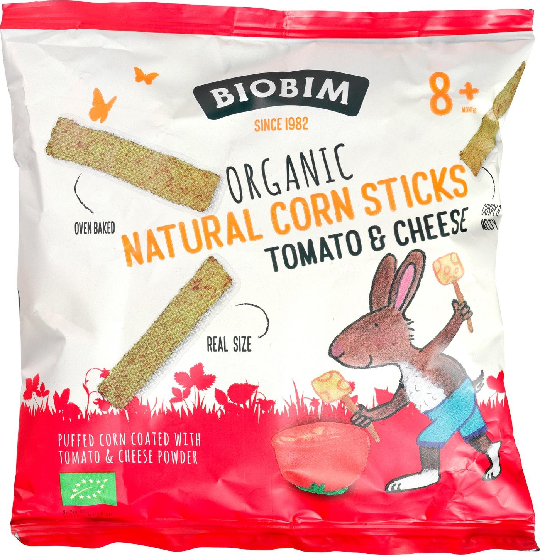 Biologische Biobim Natural Corn Sticks Tomato en Cheese 8+ 25 gr