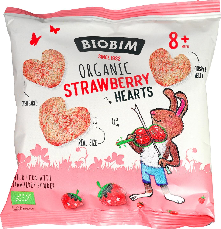 Biologische Biobim Aardbei hartjes 20 gr