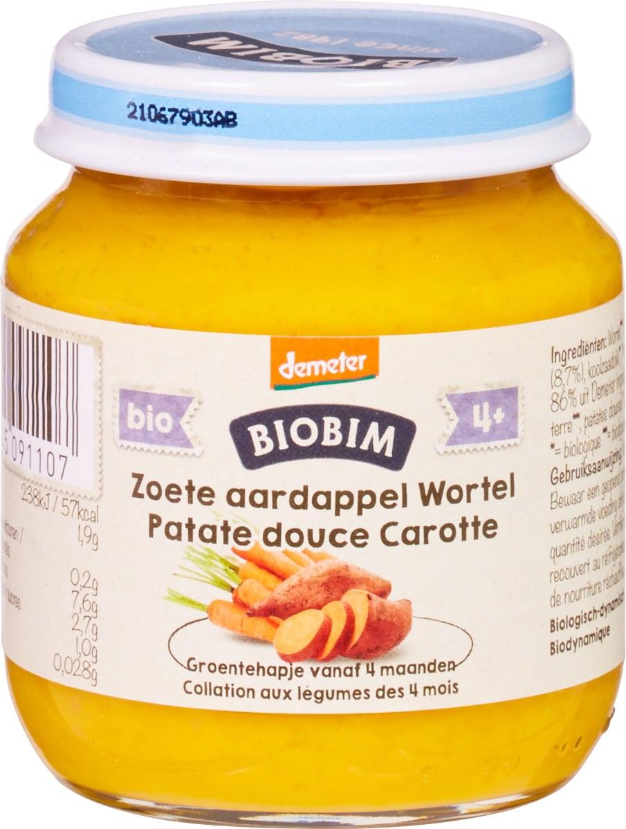 Biologische Biobim Babyhapje zoete aardappel/wortel 4+ mnd 125 gr