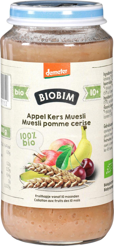 Biologische Biobim Fruithapje appel/kers/muesli 10+ mnd 125 gr