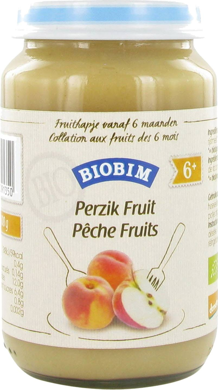 Biologische Biobim Fruithapje perzik 6+ mnd 200 gr