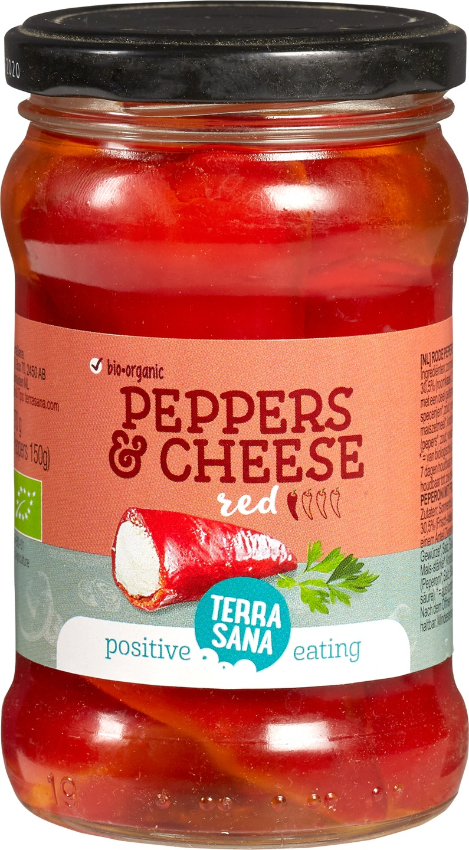 Biologische TerraSana Gevulde Rode Pepers 270 gr