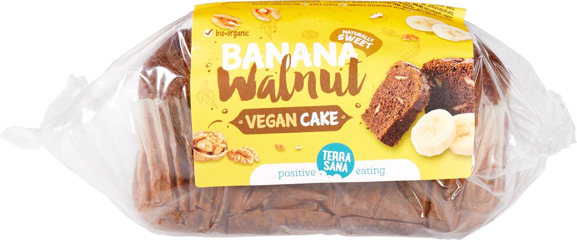 Biologische TerraSana Vegan cake banaan walnoot 350 gr