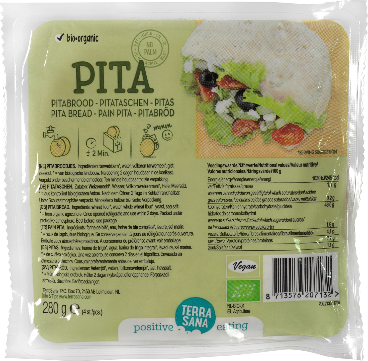 Biologische TerraSana Pitabroodjes 100% Lemairemeel 280 gr