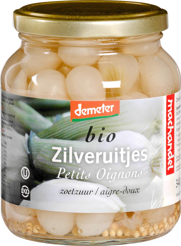 Biologische Machandel Zilveruitjes zoet-zuur 195 gr