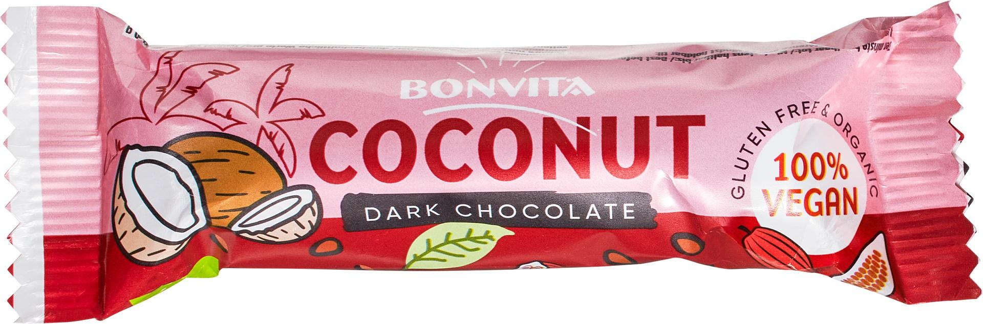 Biologische Bonvita Bonbarr pure chocolade - kokos 40 gr
