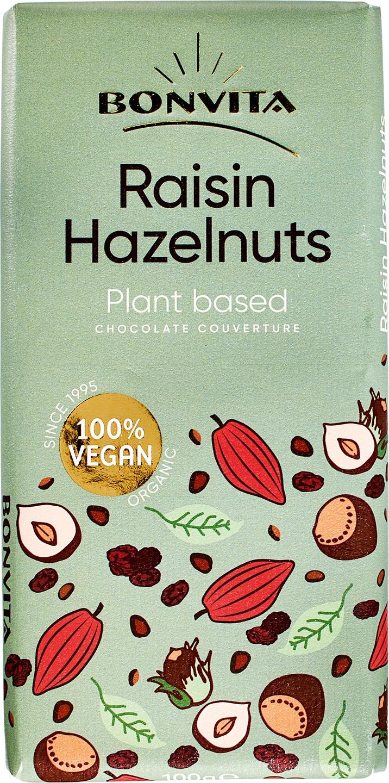 Biologische Bonvita Rijstmelk chocolade vegan - rozijn/hazelnoot 100 gr