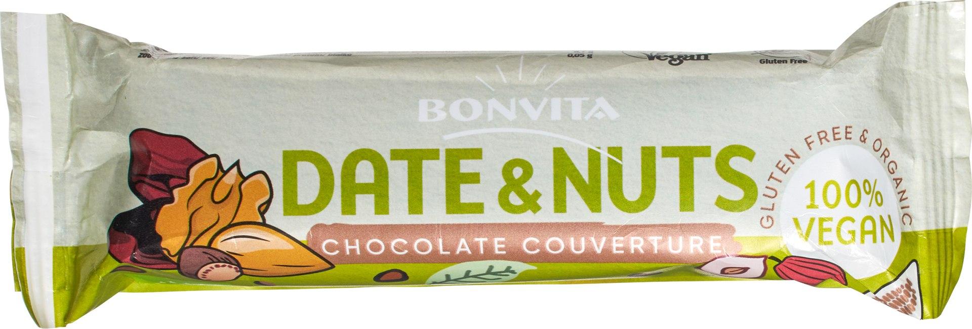 Biologische Bonvita Dadel & notenreep met chocolade 40 gr