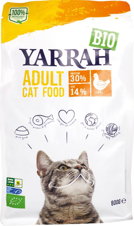 Biologische Yarrah Kattenbrokken kip 800 gr