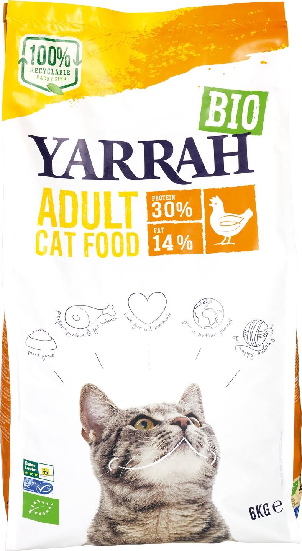 Biologische Yarrah Kattenbrokken kip 6 kg
