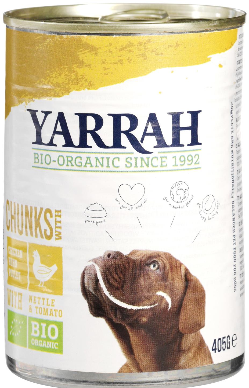 Biologische Yarrah Hond brokjes kip 405 gr