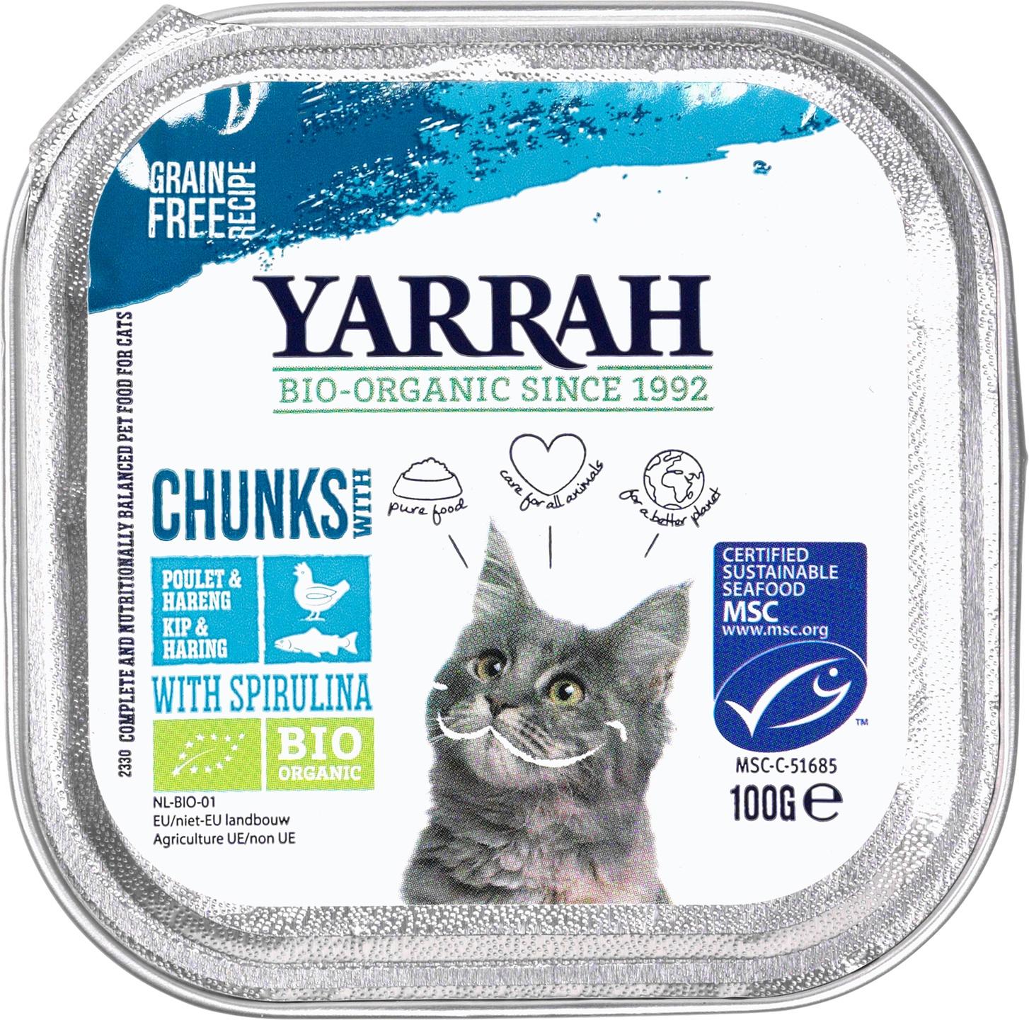 Biologische Yarrah Kattenbrokjes vis 100 gr